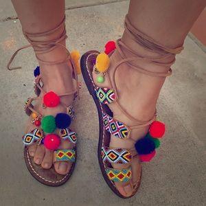 Lisabeth leather sandals beaded boho colorful